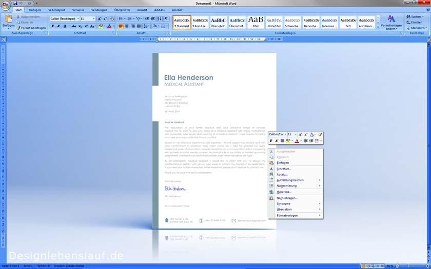 Lebenslauf Englisch mit Anschreiben als Downloadvorlage