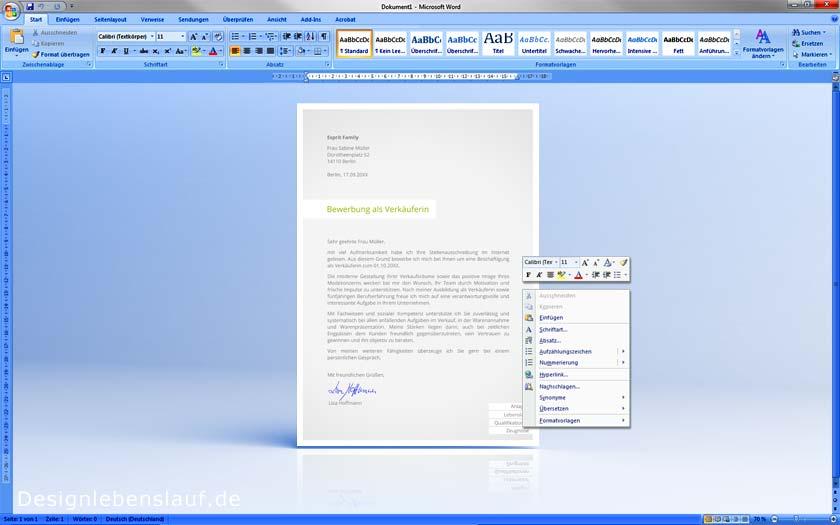 Bewerbung Vorlage Vom Designer Für Word & Freie Office-Software