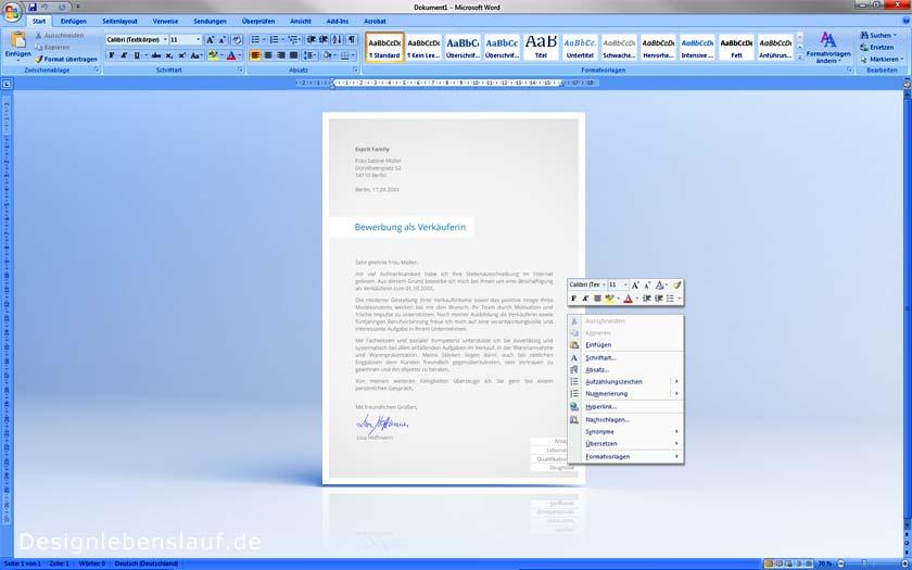 Kurzbewerbung Muster Mit Deckblatt Und Anschreiben + Cv