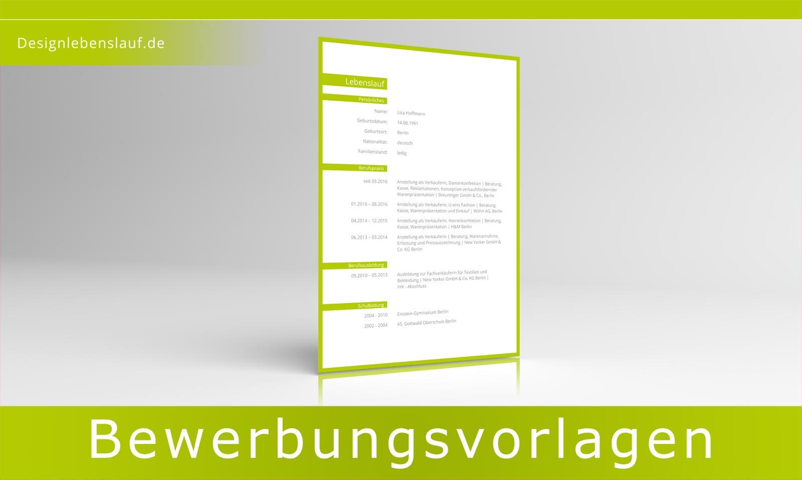Muster Lebenslauf für Word und Open Office | Designlebenslauf.de