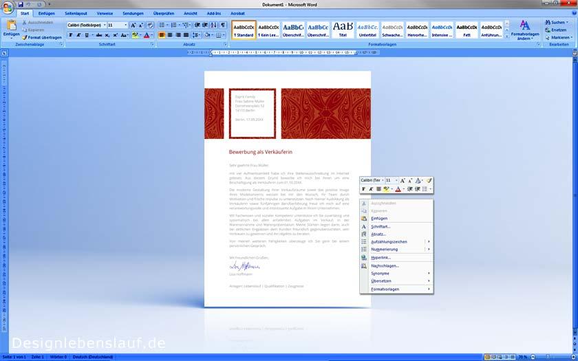 Bewerbung Deckblatt Vorlagen Mit Anschreiben & Lebenslauf