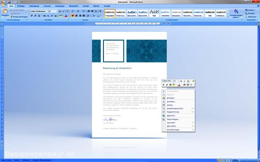 Motivationsschreiben Vorlage In Word Open Office