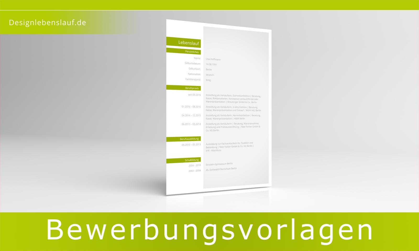 Lebenslauf Vorlage Design für Word und Open Office