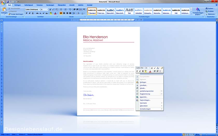 sample cover letter openoffice